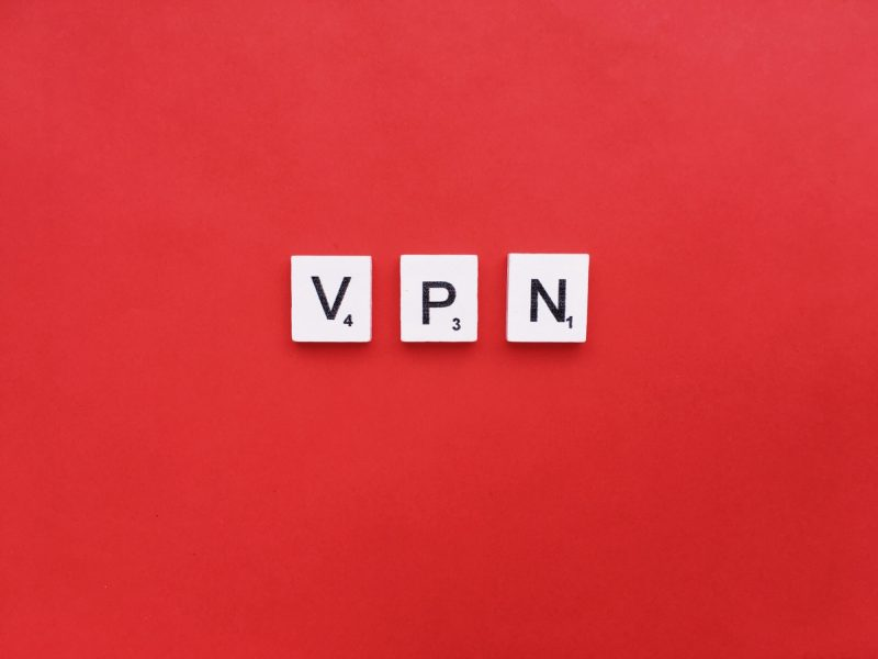 VPN scrabble letters word on a red background